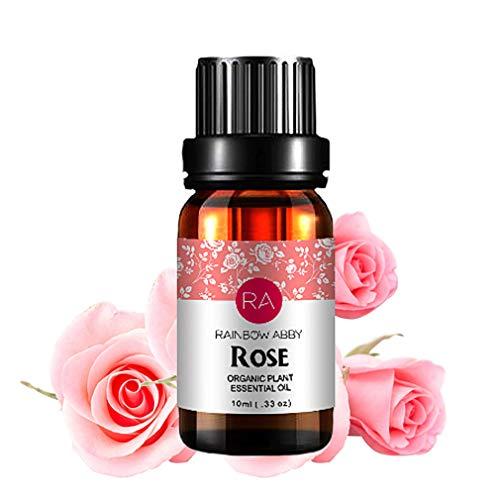 Natürliche Aromatherapie-diffusor (RainbowAbby Rose Ätherisches Öl, 100% Reines Natürliches Aromatherapie Rosenöl für Diffusor (10ML))