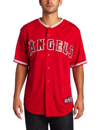 MLB Los Angeles Angels Replica Baseball Jersey Red (Majestic Athletic) (Medium)