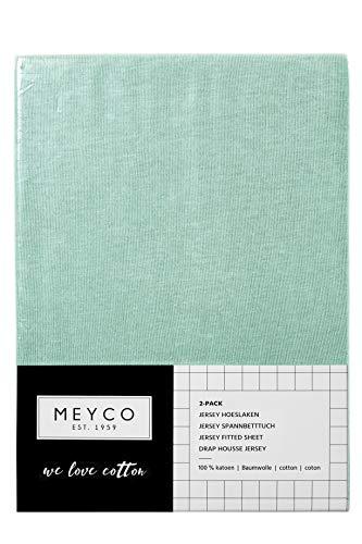 Meyco 563224 2er-Pack Jersey Spannbetttuch, 40x80/90cm (Wiege), New Mint 100% Baumwolle