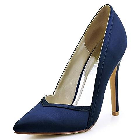 ElegantPark HC1603 Chic Escarpins Satin Femme Talon Haut Aiguille Bout Pointu A Enfiler Chaussures de Mariee Ceremonie Bleu Marine 38