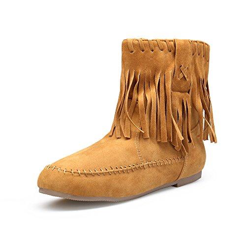 KOUDYEN Damen Frühling Herbst Outdoor Schuhe Boots Stiefel Schlupfstiefel Stiefeletten Wildleder Flach,XZ998-1-camel-EU40 (Camel Wildleder Stiefel)