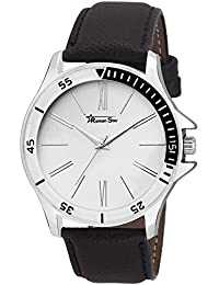 Roman Star Men's N-1131 Silver Coloured With Black Leather Strap Analog Quartz Watch