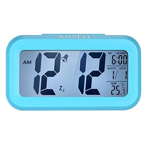 Anself LED Digital Alarma despertador Reloj Repetición activada por luz Snooze Sensor de luz Tiempo Fecha Temperatura