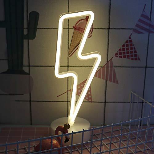 ENUOLI Blitz-Neonlicht-Zeichen LED Neon Schilder Lampen Blitz Neon Lights-Raum-Dekor Batterie/USB-Betrieb Nachtlichter mit Sockel Warmen Weiß Neonlicht-up Bar Schlafzimmer Party Weihnachten -