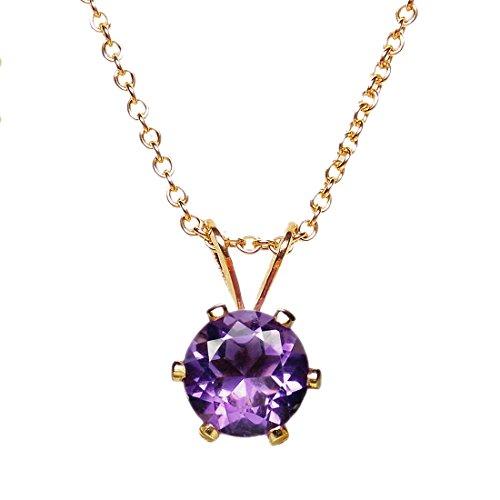 6mm Rund Facettiert Reichhaltige violett echtem Amethyst 14K Gelb Gold gefüllt Anhänger + 45,7cm Kette/Halskette (Gold Gefüllt Kette)