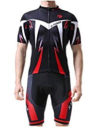 X-TIGER Hombres de Bicicleta Manga Corta Maillots con 5D Acolchado Gel MTB Ciclismo Pantalones Cortos (Rojo,2XL)