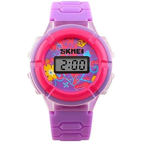 pkaty Bambini Cute tre luce posteriore di colore rotante orologio da polso digitale Viola