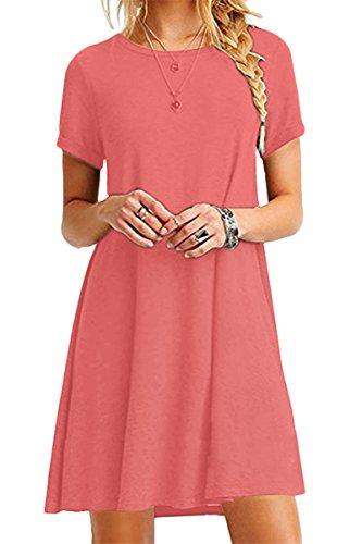YMING Damen T-Shirt Kleid Looses Tunika Kurzarm Tops T-Shirtkleid Casual Mini Sommerkleid,Koralle,L/DE 40 (Leinen 100 Damen-kleider)