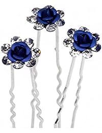 A-Z Jelinda 10pcs novia plateado cristal de flor pelo rosa broches
