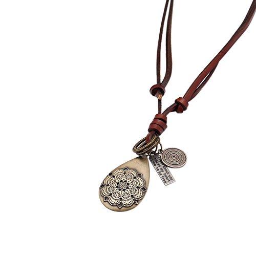 YAZILIND Maxi Femmes Hommes Bijoux Vintage Brown cuir engrenage Fleur Lettre Pendentifs Déclaration Colliers Marron foncé