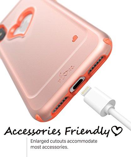 iPhone X Hülle, Vena Schutzhülle [vLove] [Herz-Gestalten | Dual Layer Schutz] Hybrid Stoßfänger Abdeckung Case für Apple iPhone X - Aquamarin / Grau Rosengold / Korallenrosa