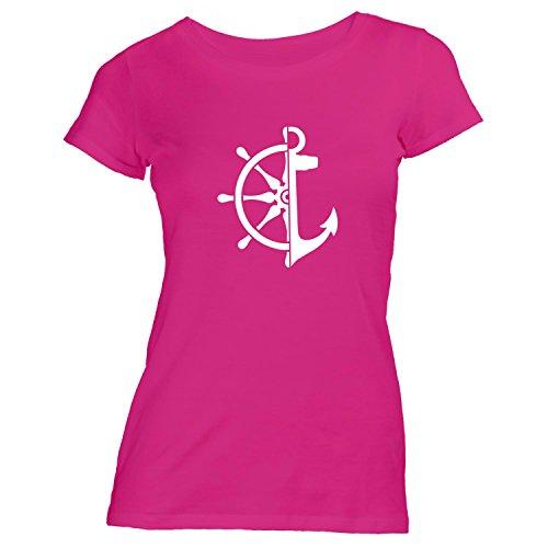Damen T-Shirt - Anker Steuerrad - Maritim See Meer Schiff Pink