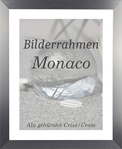 Homedeco-24 Monaco MDF Bilderrahmen ohne Rundungen 41 x 98 cm Größe wählbar 98 x 41 cm Alu Gebürstet mit Acrylglas klar 1 mm
