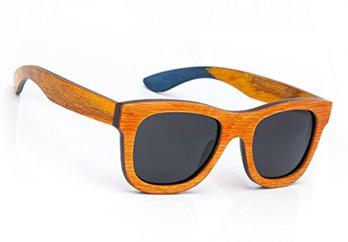 Damen Herren hölzerne Sonnenbrille Holz Retro Vintage Polarisiert Linse (Orange)
