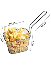 SATYAKI STEELS Stainless Steel Chips Mini Frying Square Basket Strainer Fryer Kitchen Cooking Basket. L*H 22 * 7 in cm
