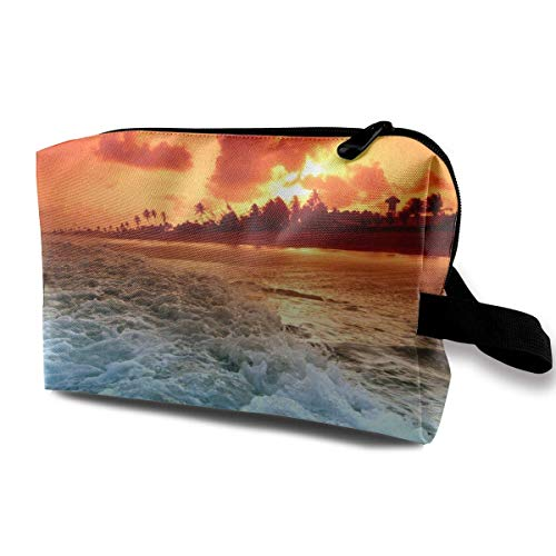 Sunset Beach Sea Wave Tropical Scenery Travel Toiletries Bag Sturdy Organizer Cosmetic Handbag for Women Men Portable