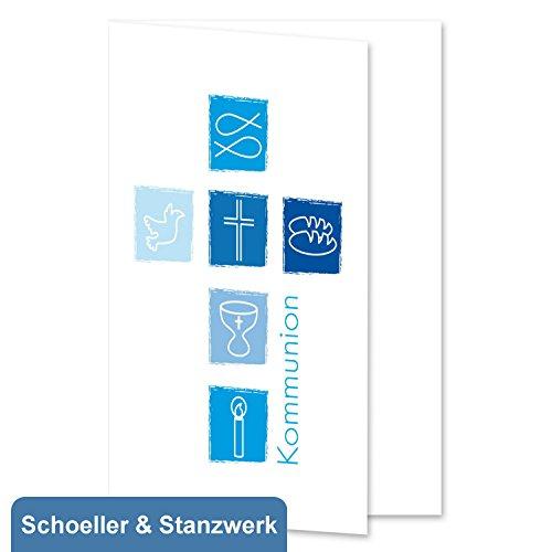 10 Stück Grußkarten/Einladungskarten/Danksagungskarten zur Kommunion mit blauem Druck Kreuz - inklusive 10 Umschlägen - Schoeller & Stanzwerk