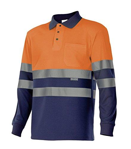 velilla-175-polo-haute-visibilite-manche-longue-taille-xl-couleur-bleu-fonce-et-orange-fluor