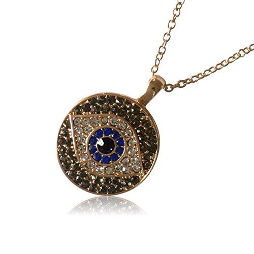 BENAVA Nazar Boncuk Kette - Halskette mit Anhänger Türkisches Auge Blau Gold – Bayan Kolye (Auge Damen)
