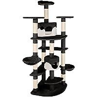TecTake Katzen Kratzbaum mit XXL Liegemulde | 2 Katzenhäusern | deckenhoch - diverse Farben - (schwarz-weiss | Nr. 402110)