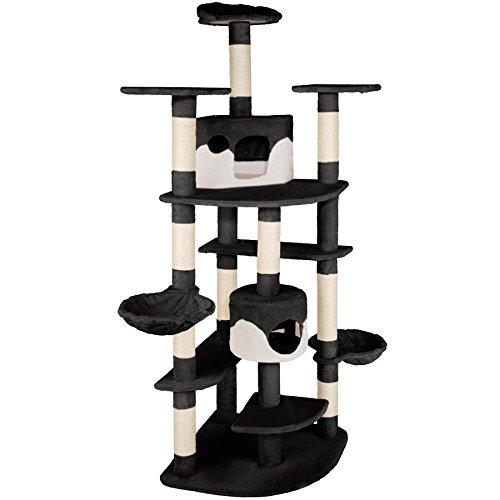 TecTake Arbre à chat griffoir grattoir geant | 2 grottes | XXL 204cm - diverses couleurs au choix - (noir-blanc | no. 402110)
