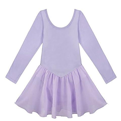 Tiaobug Kinder Mädchen Kurzarm Ballettkleid Ballettanzug Turnanzug mit Röckchen (98-104, Lavender Langarm)