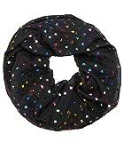 Caripe Damen Loop Schal Glitzer Schlauchschal Halstuch glänzend metallic dots Punkte Anker Sterne - met-2 (Stern-Herz - schwarz)