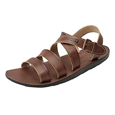 Naked Men's Brown Synthetic Leather Gladiator Sandals (N1-0015-Br) UK 7