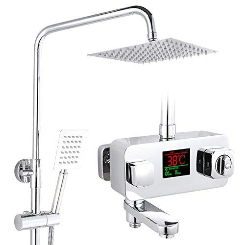 Jollylife - Hochwertige LED-digital Display Bad Dusche Set Wand Montiert Thermostat Chrome Wasserhahn Quadratisch / Rund Regendusche Handbrause 3 Weg, Duschsysteme silber