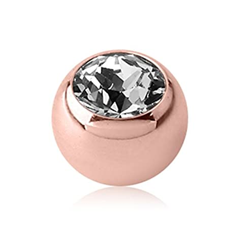 Rosegold Steel - Screw ball - crystal LH - light peach - 1,6x5