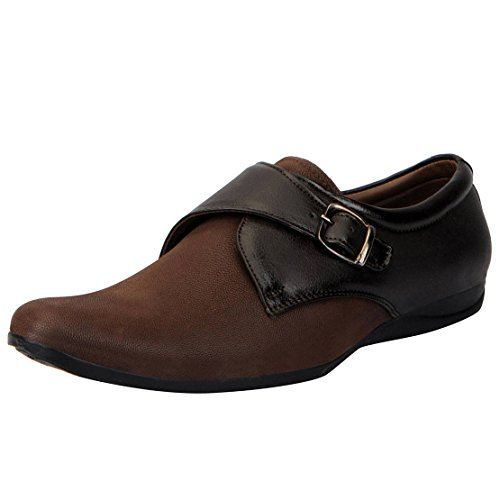 Fausto 3258-42 Brown Men's Formal Strap Monk Shoes