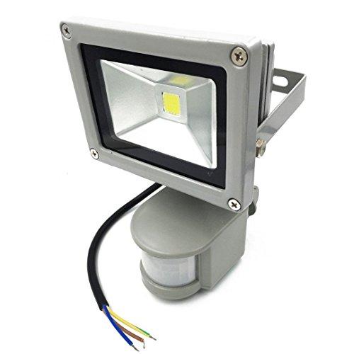 LIVHÒ - Interior y Exterior 10 W LED Focos Blanco Frío con sensor de movimiento, con fijación colgar y Kit de tornillos, waterprooff IP65