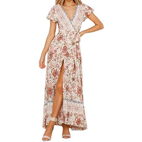 POachers Femme Robe Chic Longue Col V à Fleur Manches Courtes Robe Maxi de Plage D'été Casual- Robe Floral Longue Bohême Robe