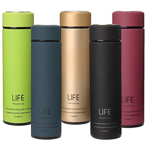EVIICC Thermoskanne für unterwegs, kleine Design 500 ml Edelstahl Trinkflasche für kalte und heiße Getränke | Isolierflasche inklusive Teesieb