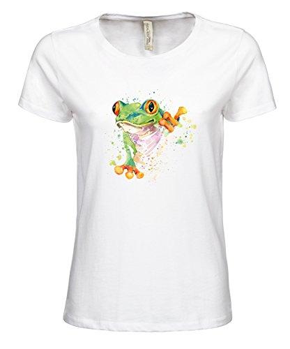 makato Damen T-Shirt Luxury Tee mit Motiv Exotischer Frosch Weiß White M