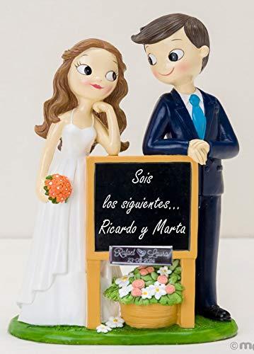 Figura GRABADA de boda novios pizarra para tarta pastel PERSONALIZADA siguientes amigos