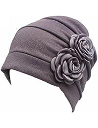 Vovotrade Fleurs Femmes Chapeau Cancer Beanie Scarf Turban Enveloppement de Tête Casquettes Bonnet Tricoté
