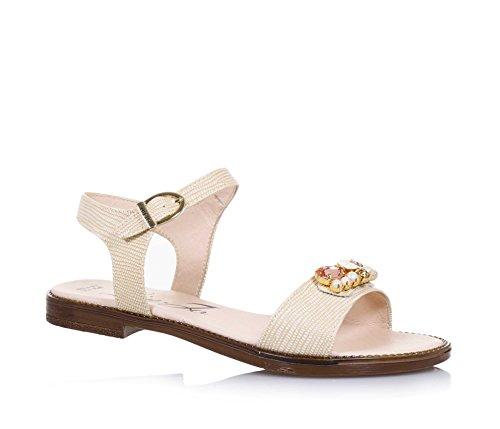 LIU JO - Sandalo beige in pelle, made in Italy, con chiusura con fibbia, logo e pietre decorative, Bambina, Ragazza, Donna-35