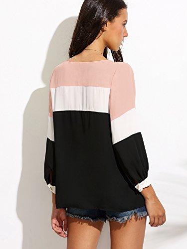 ROMWE Damen Farbblock Langarmshirt mit Streifen Muster Leicht Bequem Bluse Rosa
