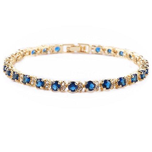 RIVA Ewigkeit Tennis Armband [18cm/7inch] mit Rundschliff Edelstein Zirkonia CZ [Blau Saphir] in 18K Gelbgold Vergoldet, Einfache Moderne Eleganz -