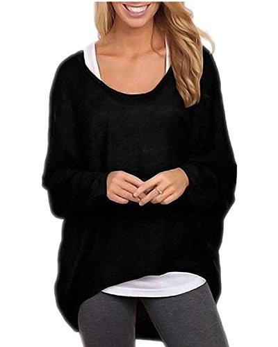ZANZEA Donna Maglia a Manica Lunga Cardigan Asimmetrico Camicia Pullover Camicetta Superiore Nero IT 50/ASIA XXL