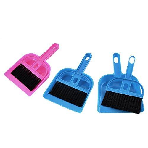 DealMux Kunststoff-Computer Netbook Tastatur-Reinigungsmittel Besen und Kehrblech Pinsel-Set Fuchsia Blau -