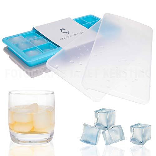 containerbee Premium Eiswürfelform mit Deckel aus BPA freiem Silikon - Zwei Eiswürfelbehälter mit 21 Eiswürfeln in optimaler Größe - Gut stapelbar Dank Deckel
