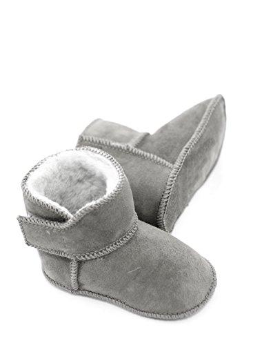 Lammfellschuhe Babyschuhe , Stiefel , Klettverschluss , Echt Fell Schuhe Krabeln, hausschuhe Baby ADB-0001 Madchen, Jungen , Leder (16/17, hellgrau)
