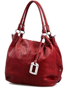 Italienische XxL Ledertasche Handtasche Shopper Nappa Leder Damentasche rot butterweich , 40x37x16 cm (B x H x T)