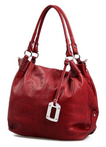 Italienische XxL Ledertasche Handtasche Shopper Nappa Leder Damentasche rot butterweich , 40x37x16 cm (B x H x T) (Leder Rote Italienische)