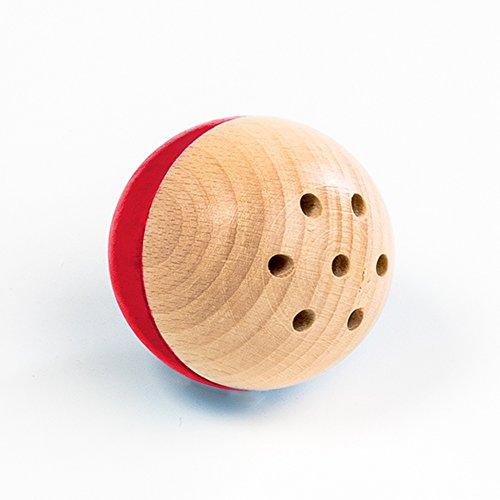 Rewoodo Baelly - Baby Kinder Rassel Spielzeug Kugel Ball Ab 1 Jahr Erstausstattung Kinderspielzeug Kleinkind Holzspielzeug Babyspielzeug (Rot) Oster Primo