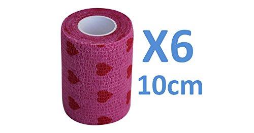 Kohäsive Bandage LOVE Pinke Farbe und Rot gedehnt 6 Rollen x 10 cm x 4,5 m selbstklebend flexibel, professionelle Qualität, erste Hilfe Sport Wrap Verbände, 6 Stück