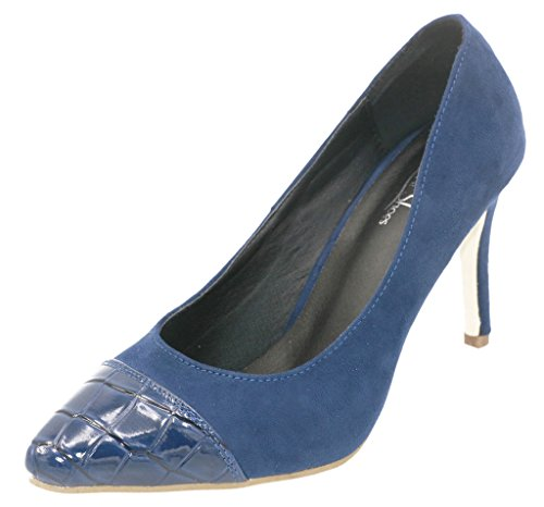 AgeeMi Shoes Damen Slip On Spitz Zehe Nubuk Gemischte Farbe Stilettos Pumps,EuD05 Dunkel Blau 39