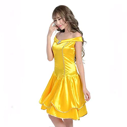 UxradG Women's Halloween Fancy Dress Cosplay Costume Adult Beauty and The Beast Princess Yellow